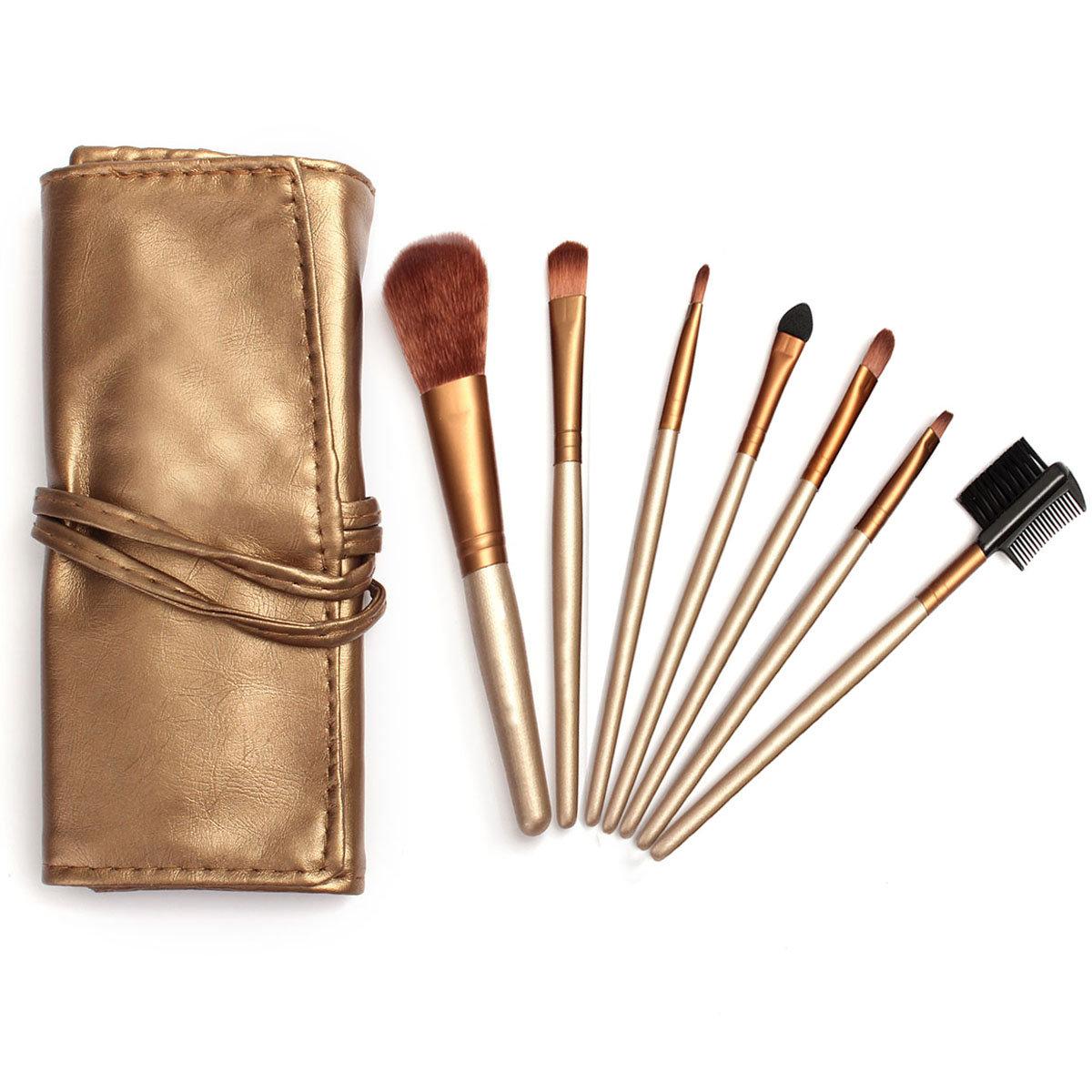 7 шт деревянной ручкой профессиональный макияж кисти Румяна Набор инструментов с ПУ сумка
