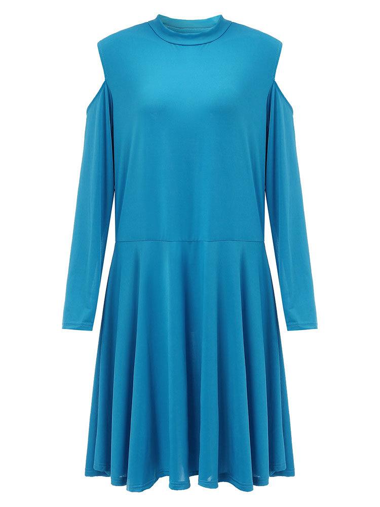Women Casual Solid Off Shoulder Knee-Length Swing Dress