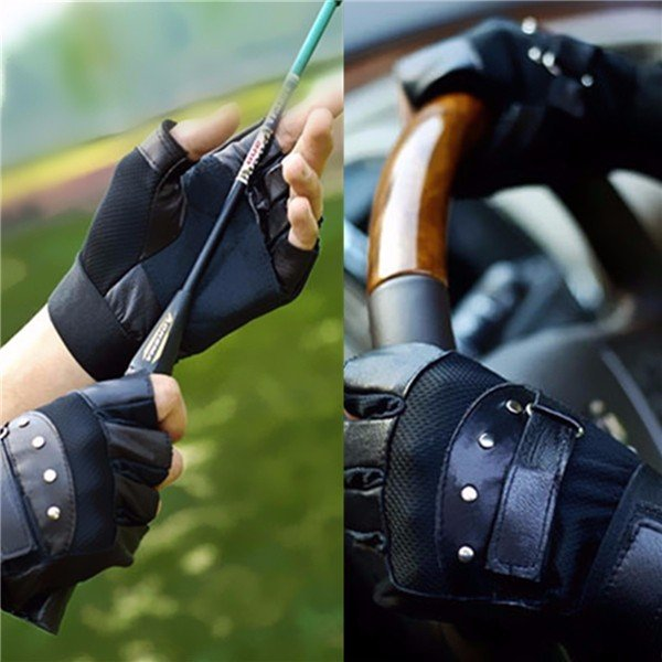 Leather Weight Lifting Gloves Gym Straps Wrist Support Wraps Cycling Gloves