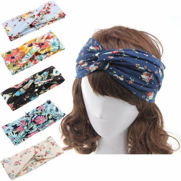 Women Flower Elastic Twisted Turban Hair Band Knotted Headband Yoga Head Wrap