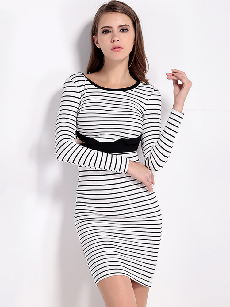 Stripe Bodycon Pencil Party Dress Long Sleeve Hollow Dress