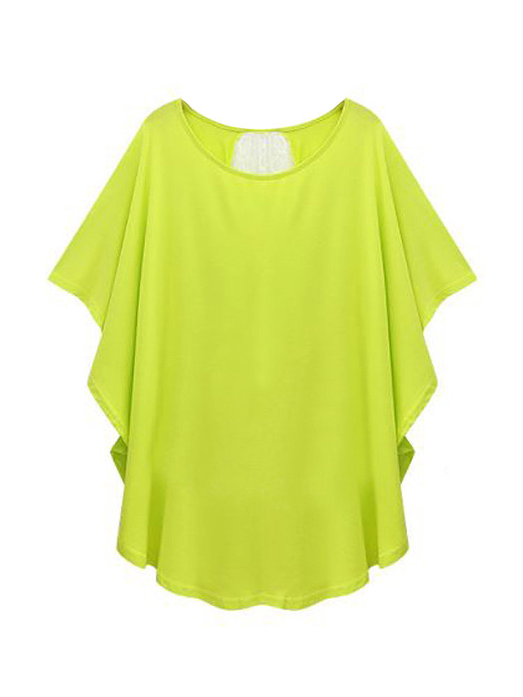 Loose Women Solid Batwing Sleeve O-Neck Patchwork T-Shirt