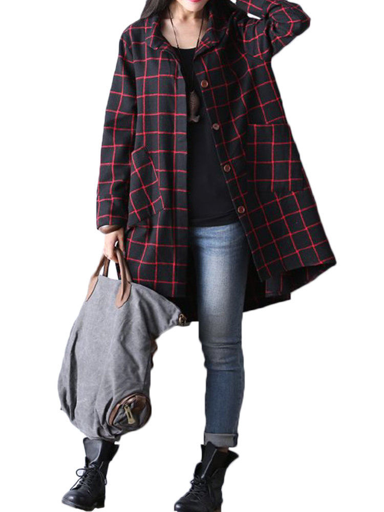 O-Newe Casual Plaid Long Sleeve Lapel Button High Low Outwear For Women