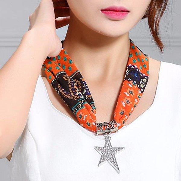 Simple Alloy Rhinestone Star Pendant Scarf Necklace