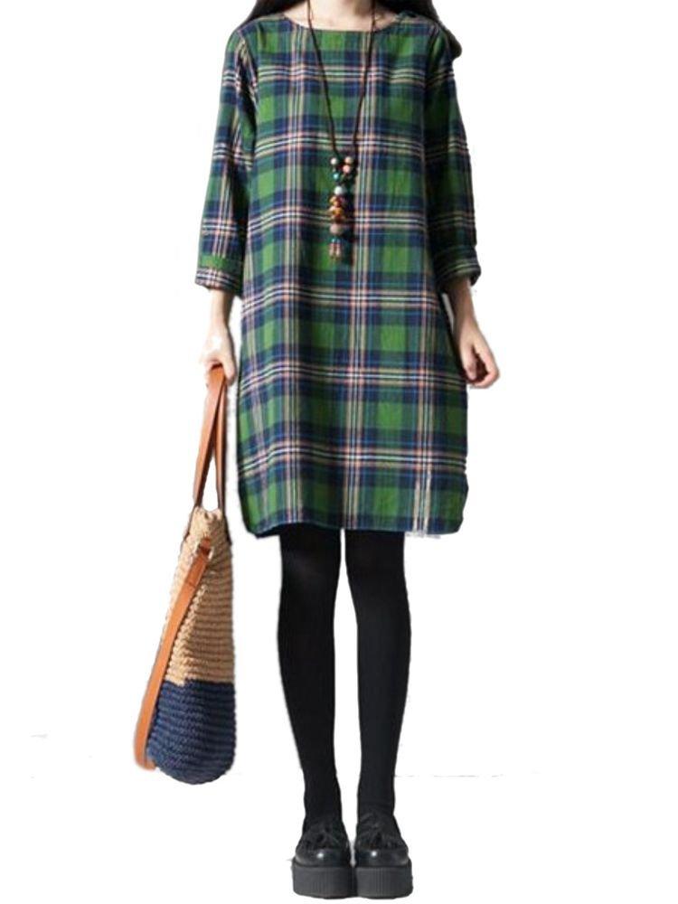 Check Casual Loose Quarter Sleeve Plaid Vintage  Dress