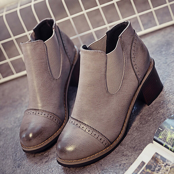 Color Match Vintage Elastic Slip On Chunky Heel Ankle Boots