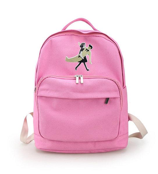 Girls Cute Canvas Schoolbag Cartoon Little People Backpack