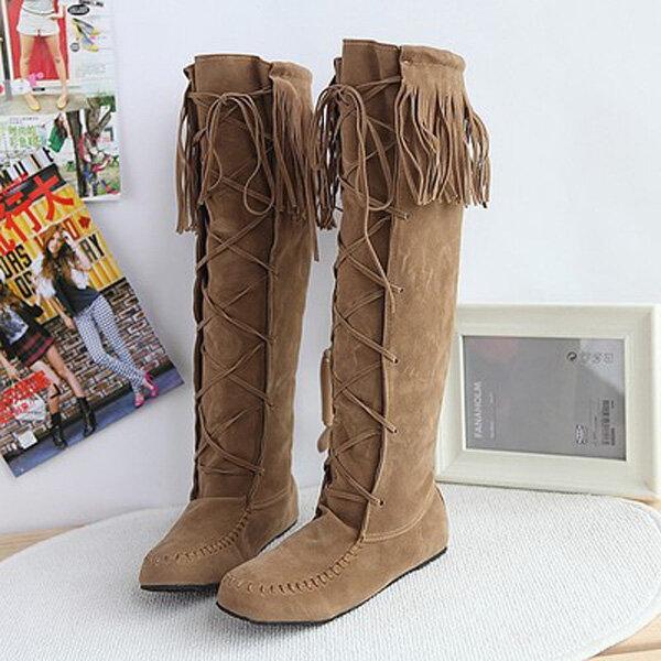 Большой размер кисточкой Узелок колено высокие плоские ботинки