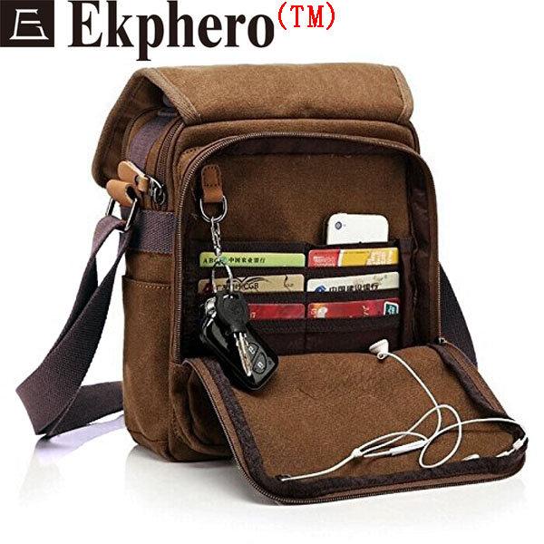 Ekphero Многофункциональный Повседневный Холст Crossbody сумка Урожай ретро сумка на молнии сумки на ремне