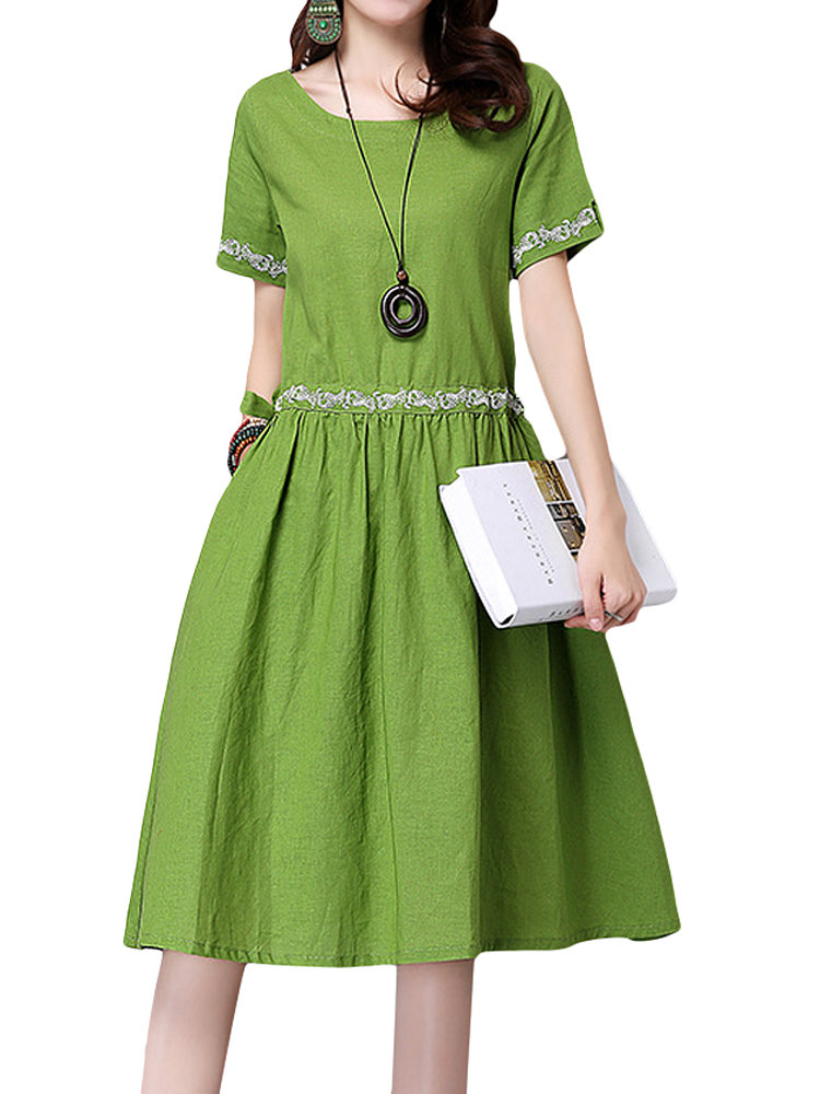 Embroidery Women Short Sleeve Pocket Pure Color Dress