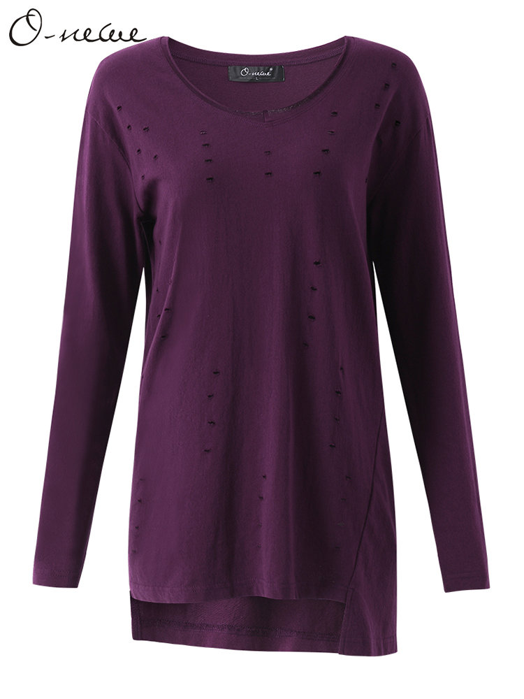 O-NEWE Casual Loose Women Pure Color Hole Irregular Hem Round Neck Blouse