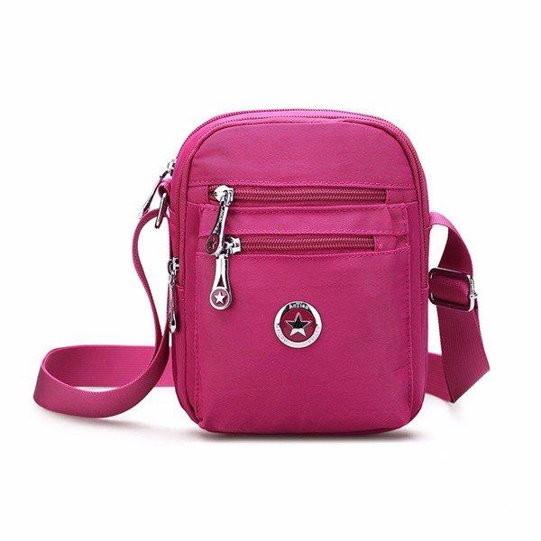 Women Pure Color Portable Nylon Shoulder Bags Crossbody Bags