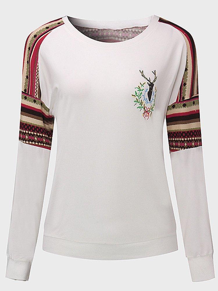 Women Christmas Stitching Elk Pattern Long Sleeve T-shirt