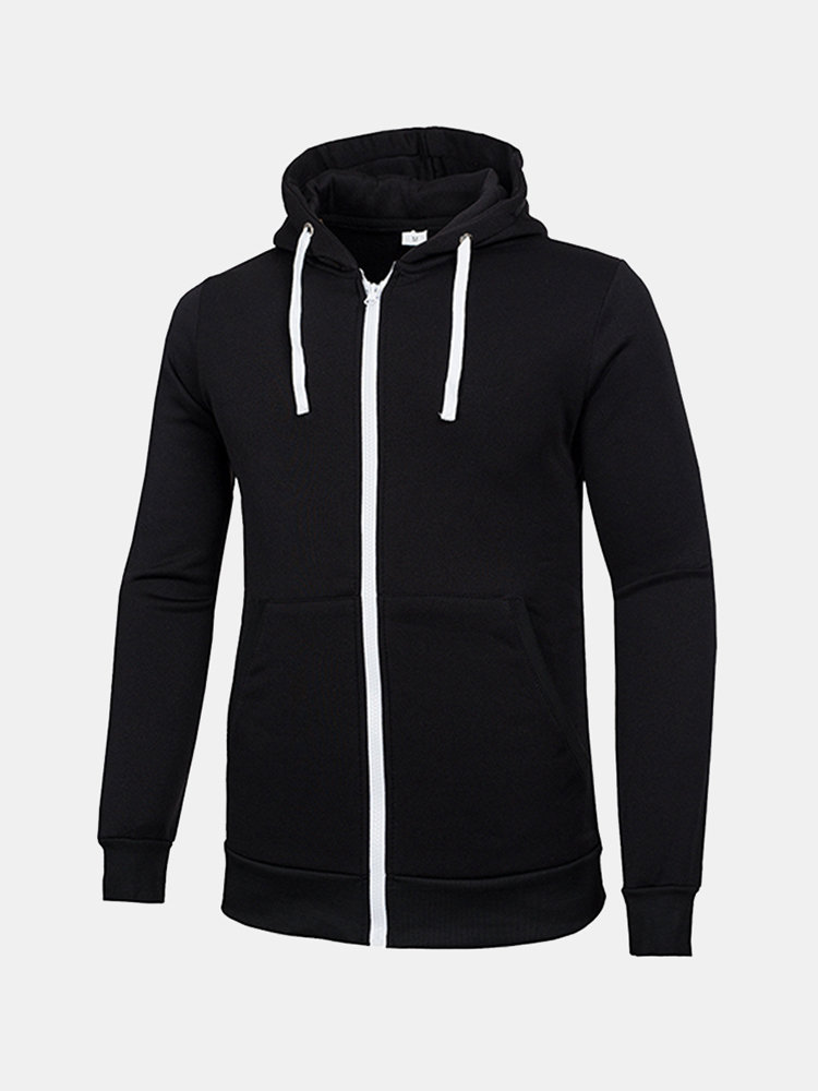 Mens Hoodies Solid Color Drawstring Fashion Casual Sport Hooded Tops