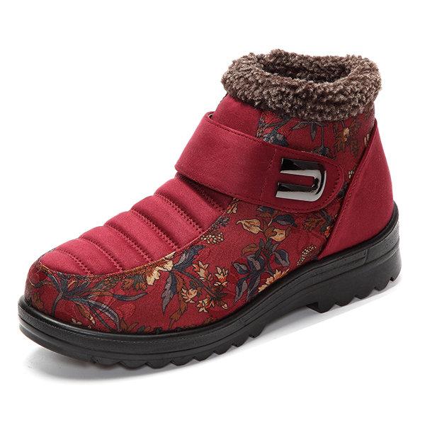 Flower Hook Loop Metal Ankle Warm Retro Platform Boots