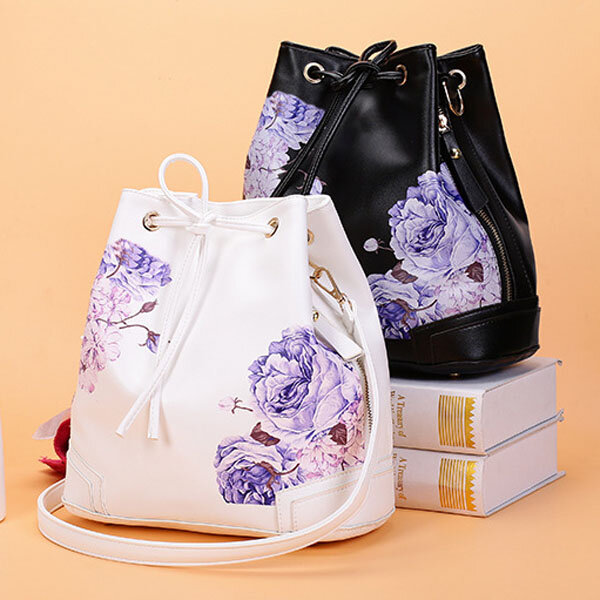 Women Stylish Chinese National Style Shoulder Bag Draw String Backpack
