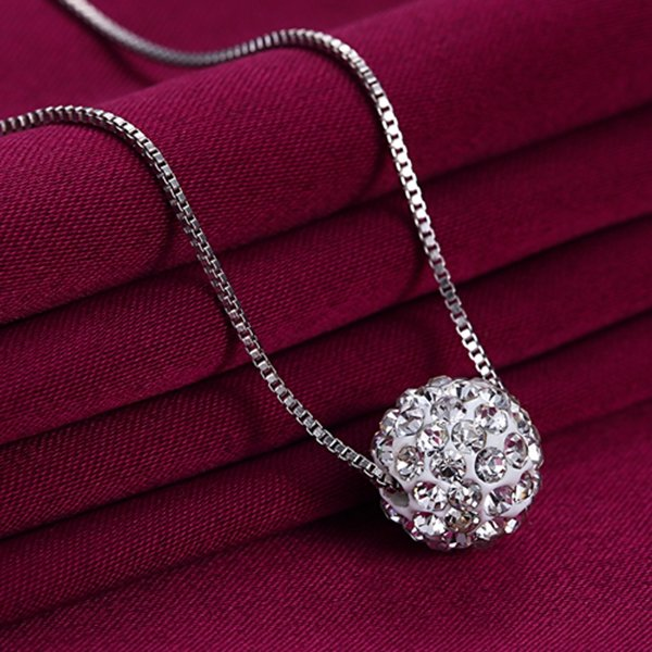 925 Sterling Silver Zircon Ball Pendant Necklace