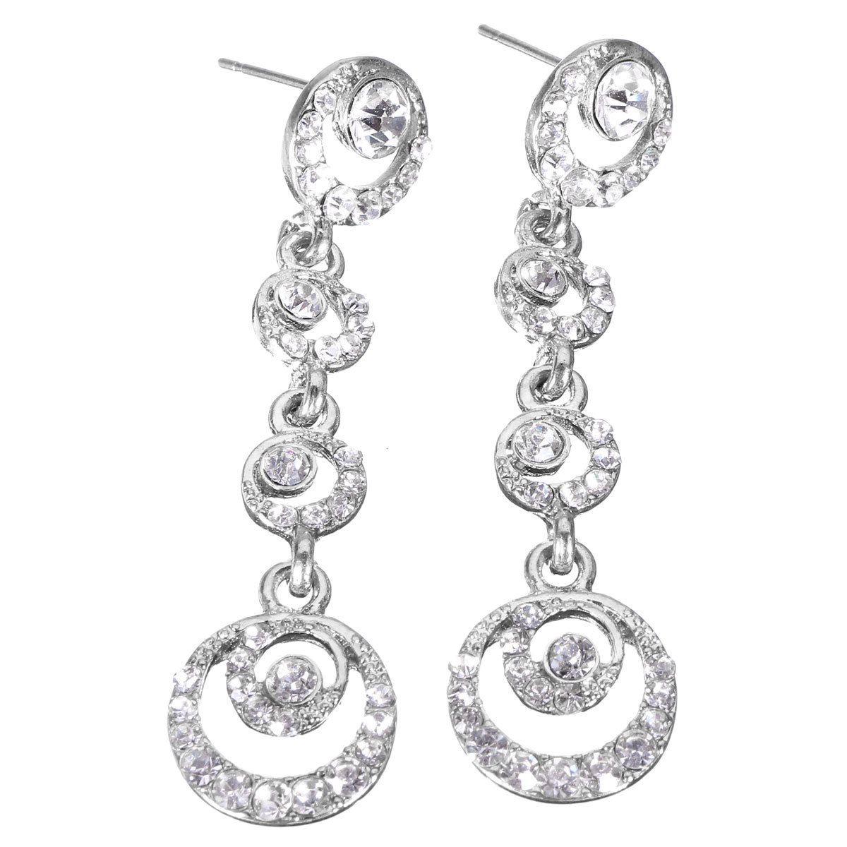 Round Crystal Drop Multilayer Circles Earrings