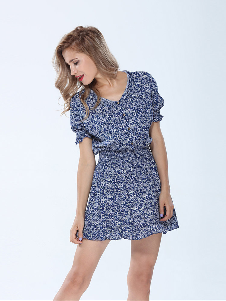 Women Short Sleeve Floral Stretch High Waist A-Line Dress