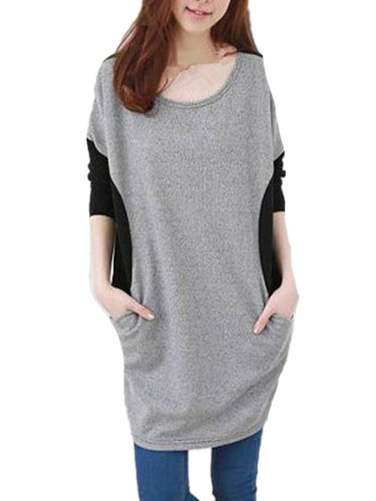 Casual Women Batwing Sleeve Loose Patchwork Mini Dress