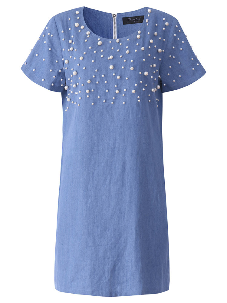 Casual Women Short Sleeve Nail Bead Denim Loose Dress