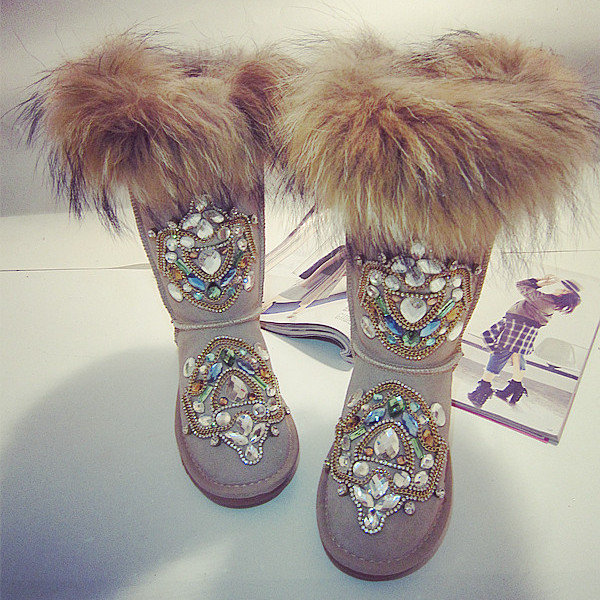 Beaded Crystal Furry Shiny Mid Calf Fur Lining Boots For Women