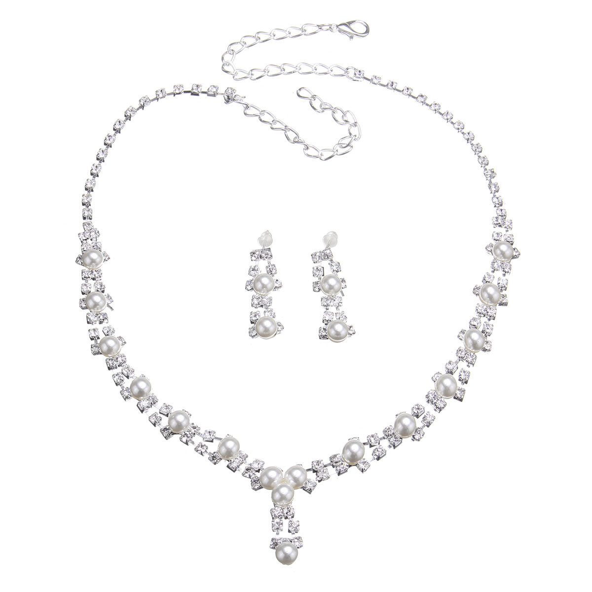 Simple Bridal Full Rhinestone Jewelry Artificial Pearl Necklace Earrings Set