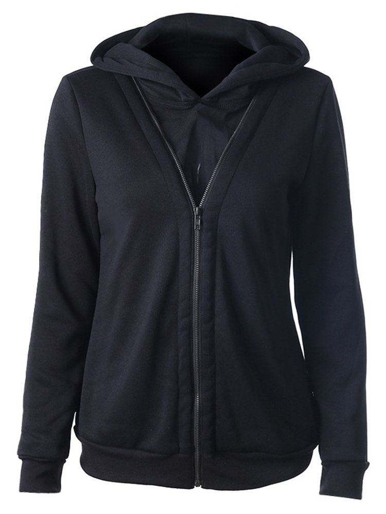 Women Casual Stitching Hooded Zipper Hoodie