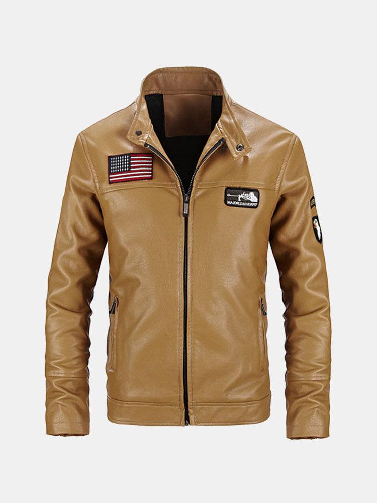 Мода мотоцикла кожаной куртки PU Slim Fit стенд воротник пальто для мужчин