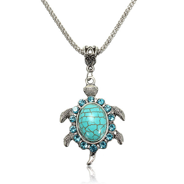 Blue Crystal Turquoise Turtle Pendant Necklace