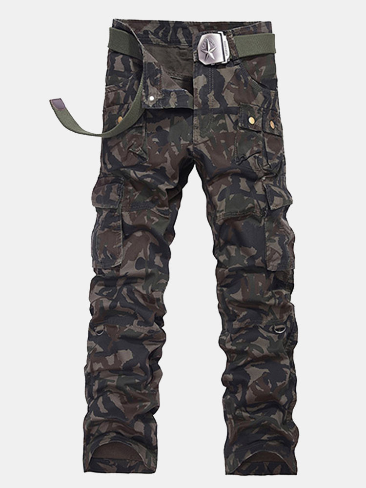 Casual  Muti-Pockets Loose Camouflage Cargo Pants Cotton Long Trousers For Men