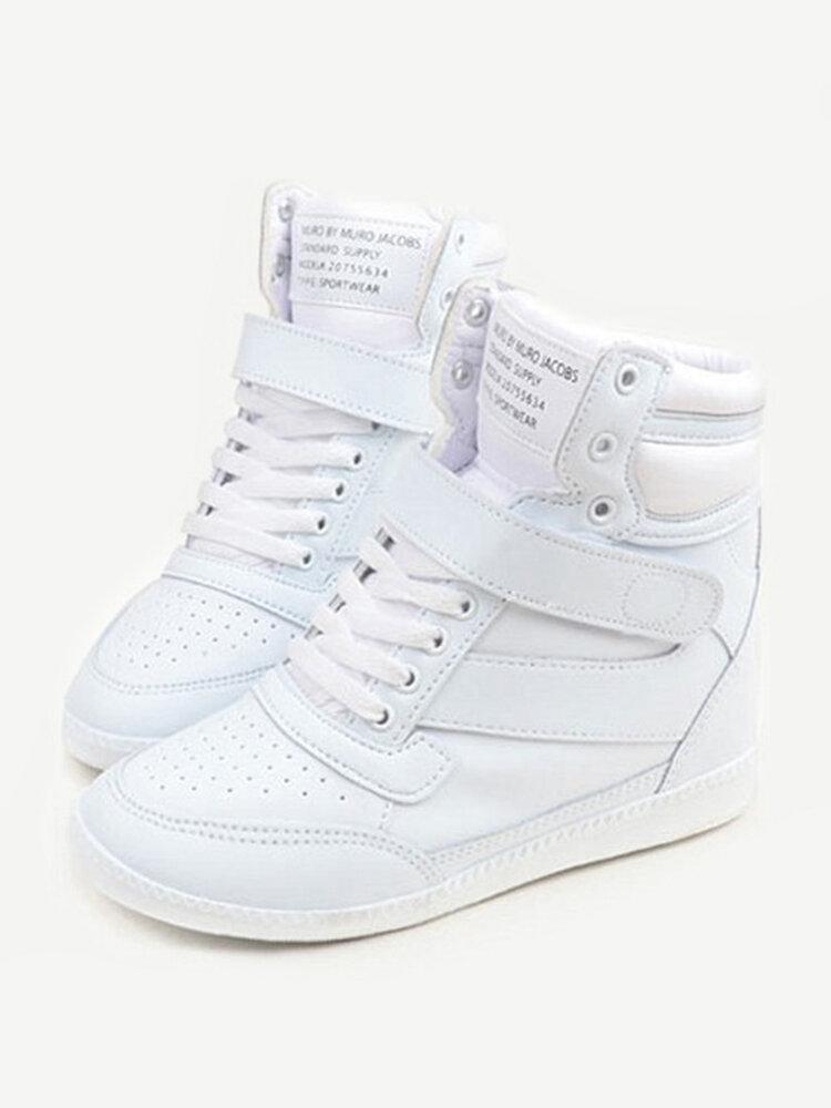 Белый крюк петля Узелок пятки Возрастающие Высокие Top Casual Спортивная обувь