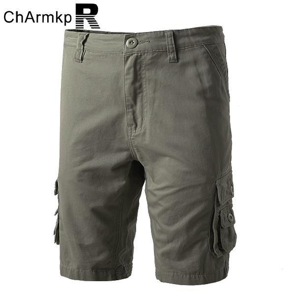 ChArmkpR Плюс Размер Мужская хлопок Шорты повседневные Мульти Карманы сыпучих шорты