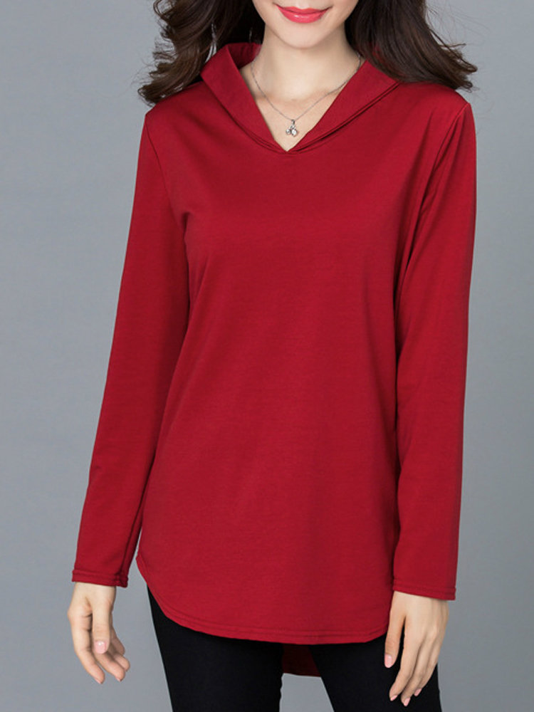 Casual Women Solid Long Sleeve V-Neck High Low Blouse