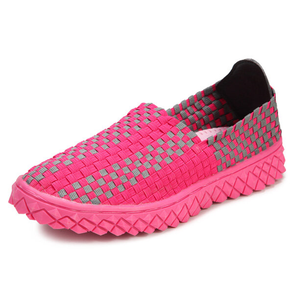 Hand Made Kint Lightweight Breathable Walking Slip On Flat Shoes