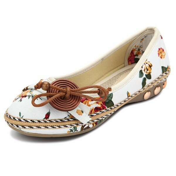 Bowknot Button Flower Small Wooden Decoration Slip On Flat Loafers
