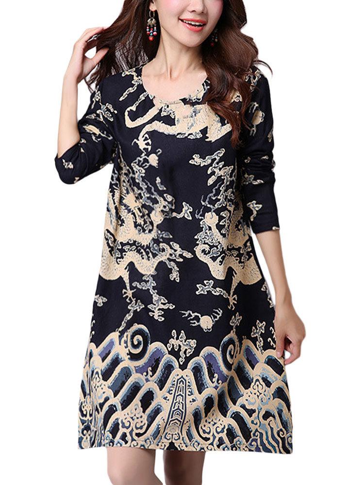 Этническая Печатные Карманный длинным рукавом Круглый шеи Женщины платье