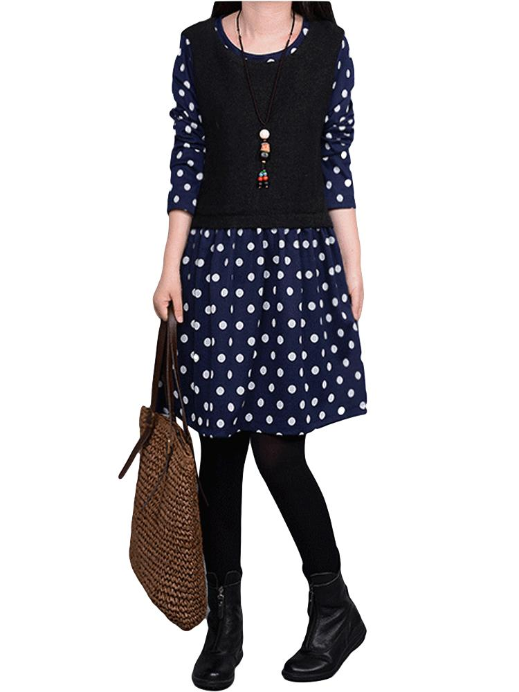 Casual Polka Dot Long Sleeve Fake Two-Piece Thicken Mini Dress For Women