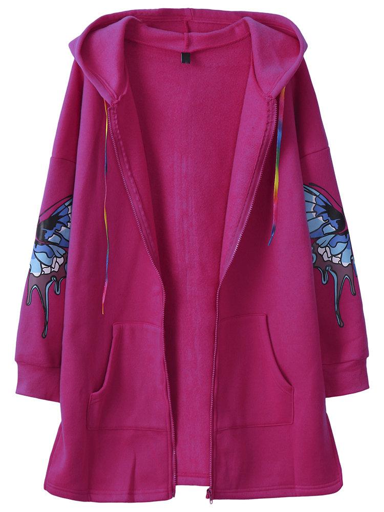 Women Casual Butterfly Print Hooded Coat