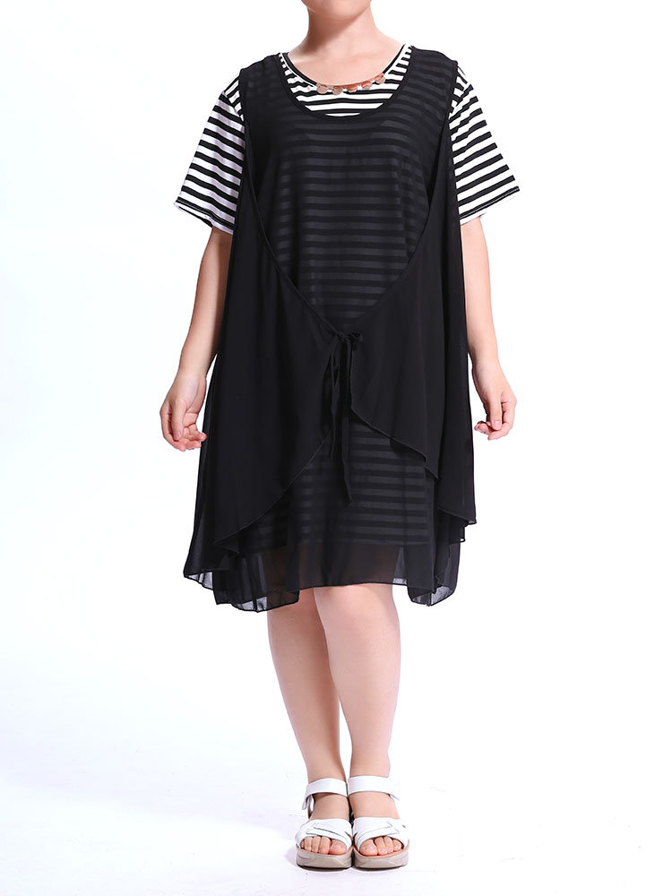 Casual Women Stripe Chiffon Two Pieces T-Shirt
