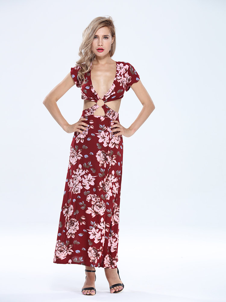 Sexy Beach Slit Floral Button Ring Bandage Party Women Dress