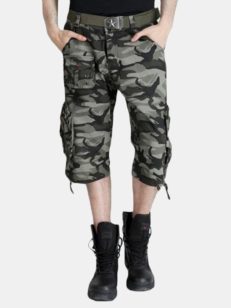 Spring Summer Men's Camo Cargo Shorts Plus Size Multi Pockects Hiking Outdoor Capri