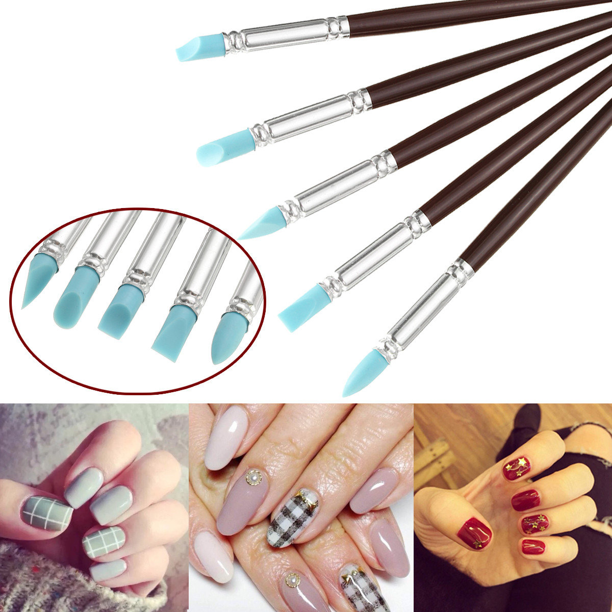 5Pcs/Kit Silicone Rubber Nail Art Pen Pottery Clay Carving Sculpture Dotting Tools