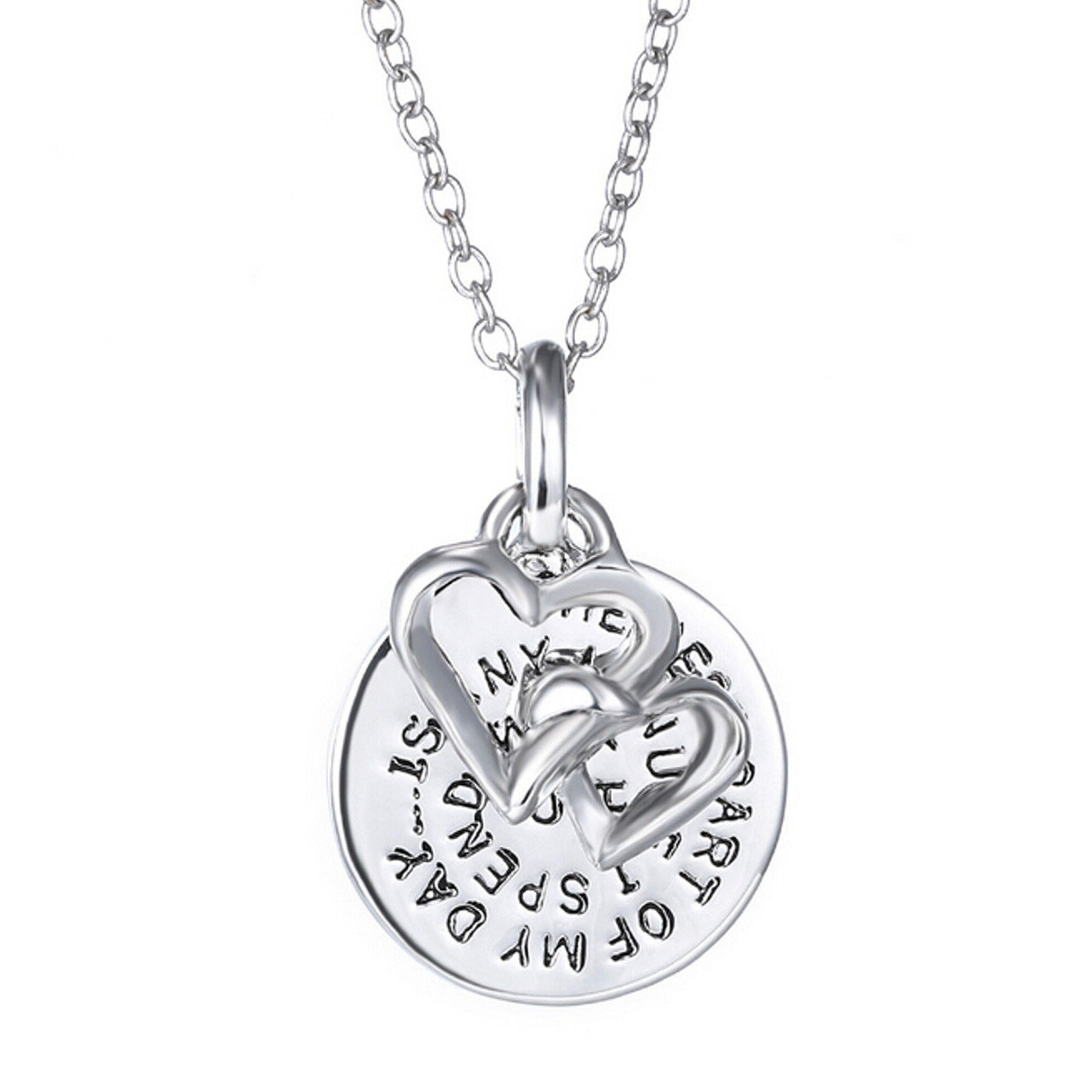 Carved Words Letters Love Pandent Necklace