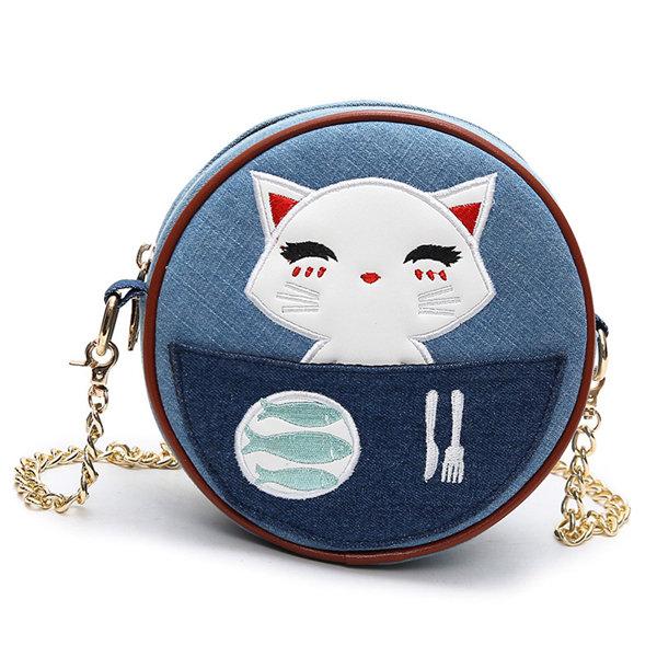 Девушки женщин Прекрасный мультфильм Cat Denim Crossbody сумка Повседневная Прочный сумки на ремне
