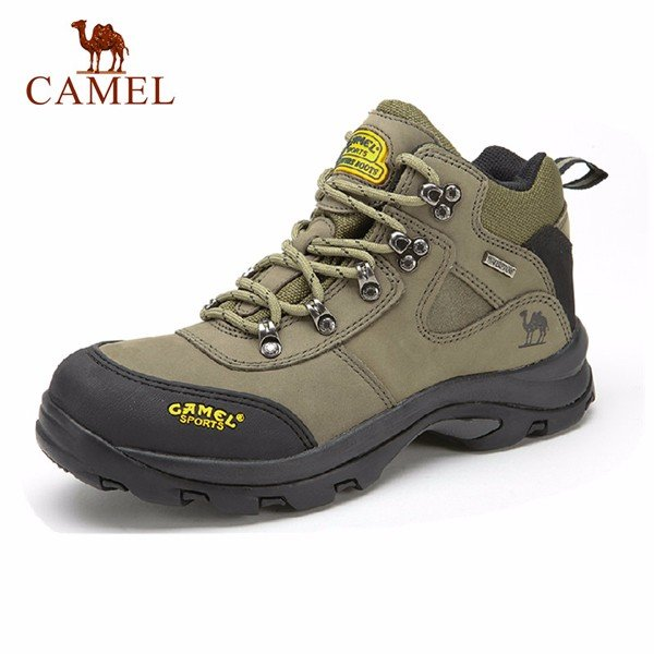 Camel Men Cow Leather Anti Skip Shock Absorption Wearproof High Top Outdoor Sport Hiking Shoes