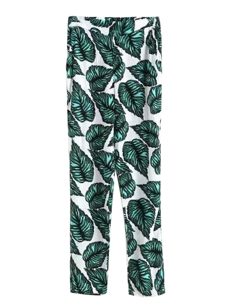 Leaves Printed Women Casual Soft Pant