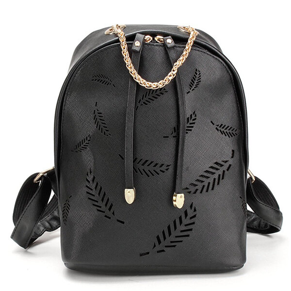 Women PU Leather Traveling Backpack Casual Hollow Leaf School Bag
