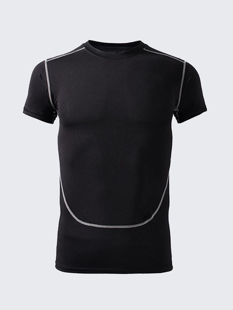 Мужские Стретч футболки Быстросохнущий Баскетбол Обучение Выполнить Фитнес Тис