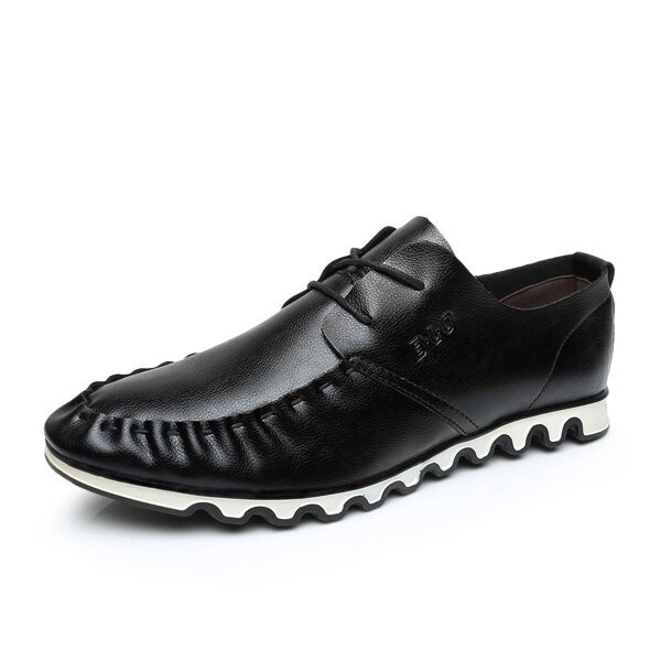Men Color Match British Style Lace Up All Match Casual Black Shoes